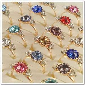 Wholesale Lots of 50PCS Gold Plated Rhinestone Crystal Rings 50A14