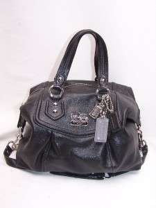 COACH Madison BLACK Leather Audrey Satchel Handbag 14316W Authentic