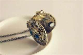Cute Blue Eye Alloy Owl Round Retro Necklace x163 great gift
