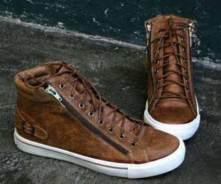 Mens High Top Sneakers Shoes Double Zipper SS020 Brown