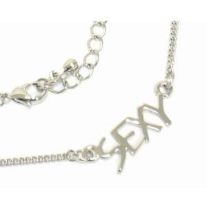 Trendy 18 SEXY letters necklace   white gold plated