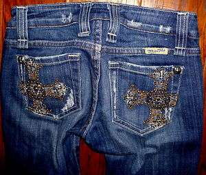 WOMENS MISS ME JEWELED POCKET LOW RISE STRETCH BOOT CUT JEANS SIZE 24