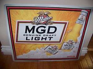 MGD LIGHT tin sign NEW NEVER DISPLAYED Miller Genuine Draft beer