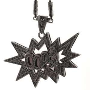 Hip Hop Bling Black on Black Tone Plated Oops Pendant with 36 Chain