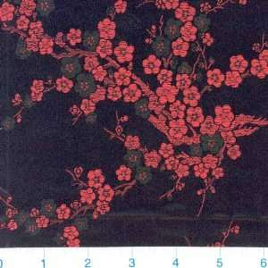 45 Wide Oriental Brocade Cherry Blossoms Red/Black