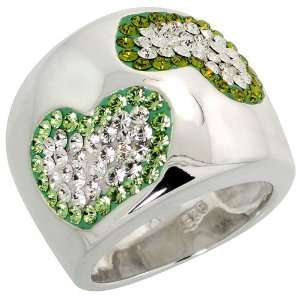 Sterling Silver CZ Heart Ring, w/ Clear & Peridot colored