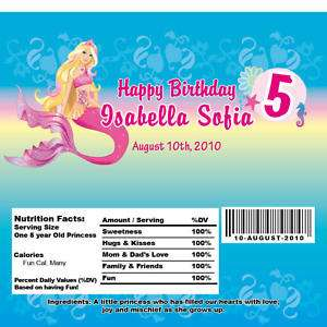 Se of 10 Barbie Mermaid Chocolae Candy Wrappers |