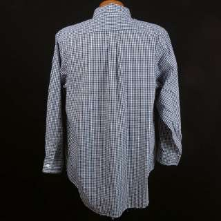 Blue Gingham Plaid LS Button Shirt Mens 16.5   32 Made in USA