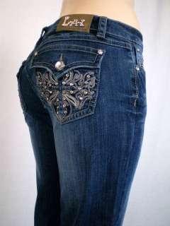La Idol Jeans Jewel Fleur De Lis/Cross Bootcut. Sz.1 15