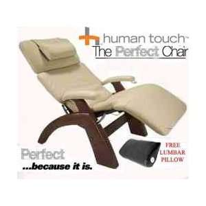 Chair Recliner Dark Walnut Wood with Ivory Leather by Human Touch