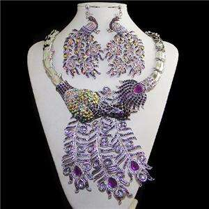 Huge Peacock Necklace Earring Set Purple Sarovski Crystal Brid Peafowl