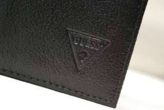 GUESS BY MARCIANO MENS BLACK LEATHER TRIFOLD WALLET