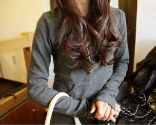 Korean Black/Gray Sweater Hoodie Long Sleeve Knit Maxi Dress
