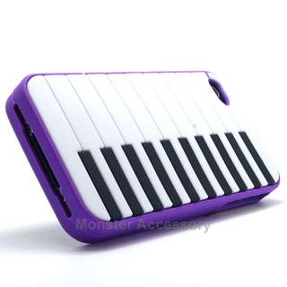 Purple Piano Keys Silicone Soft Case Cover for Apple iPhone 4 4S