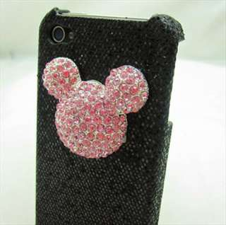 Bling Shiny Lovely Mickey Mouse Black Back Case Cover for iPhone 4 4S