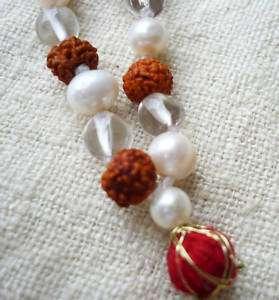 Rudraksha Pearl Quartz Mala Prayer Beads 24 MM05