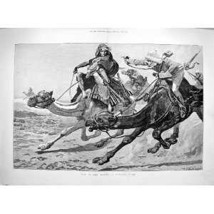 1885 WAR DESERT CAMELS RUNNING FIGHT SOLDIERS FINE ART