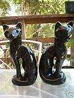 VINTAGE MADE IN TAIWAN THREE GREEN EYED BLACK CATS