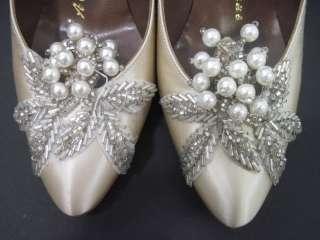 ALEXANDER GREENE Ivory Satin Beaded Shoes Sz 5 1/2 B
