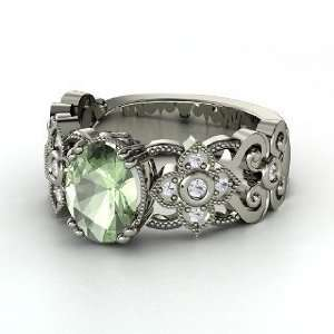Mantilla Ring, Oval Green Amethyst 14K White Gold Ring