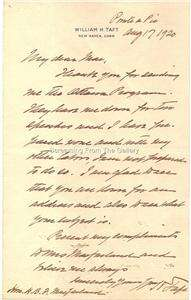 William H. Taft Entire Written Hand Signed Letter Autographed