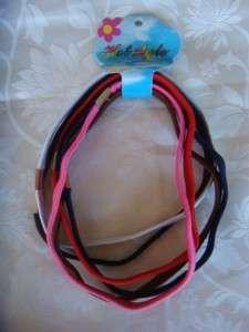 pack of 6 elastic bright colored headbands 14 long