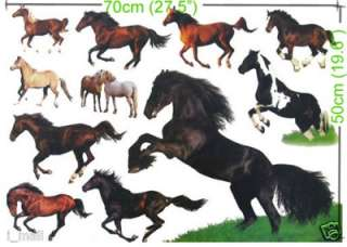 sticker for Kids room or Nursery, total 12 horses wall stickers