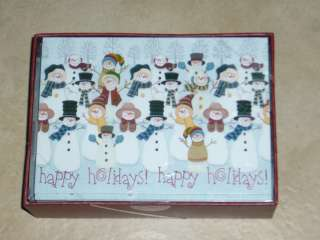 Christmas Cards Happy Holidays Snowmen  Box of 28   6 x 4 (NIB