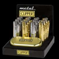 CLIPPER METAL SLIVER/GOLD COLOUR LIGHTER POLISHED CHROME NEW + GOLD