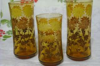 LIBBEY vintage AMBER YELLOW BROWN FLOWERS GLASSES lot of 3 EXC