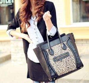 Fashion Womans Black&Leopard PU Leather Handbag Zipper Closure Totes