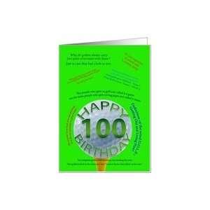 100th birthday golf jokes Card: Toys & Games