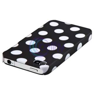 Black Large Polka Dot Case+Privacy Filter Protector For Apple iPhone 4