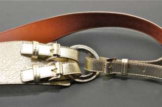 LAMBERTSON TRUEX Silver Washed White Pebble Leather Belt M Italy