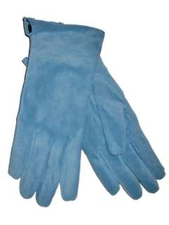 Womens Aqua Blue Suede Leather Gloves turquoise