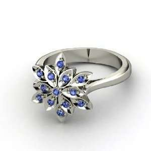 Dahlia Ring, Round Sapphire 14K White Gold Ring Jewelry