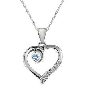 Sky Blue Aquamarine and White Topaz 14k White Gold Heart Pendant with