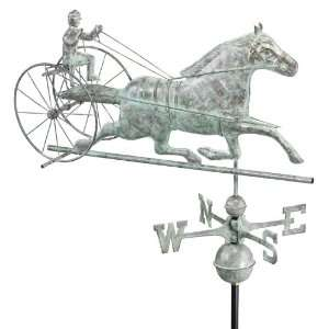 Luxury Blue Verde Sulky Horse Racing Weathervane: Patio, Lawn & Garden