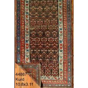 3x10 Hand Knotted Kurd Kurdistan Rug   311x108: Home