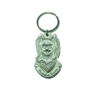 Pewter Yorkie Yorkshire Terrier Key Chain Ring Made in the