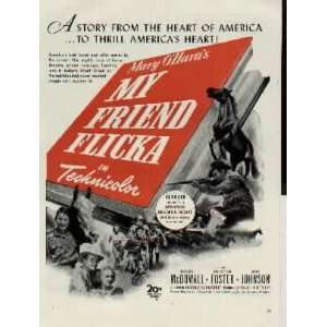 1943 Movie Ad, Mary OHaras MY FRIEND FLICKA, starring