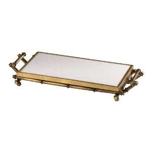 Antique Gold Hollywood Regency Bamboo Marble Serving Tray