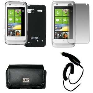 EMPIRE HTC Radar 4G Black Leather Case Pouch with Belt Clip