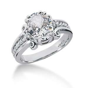 3.05 Ct Diamond Diamond Ring Engagement Oval cut 14k White