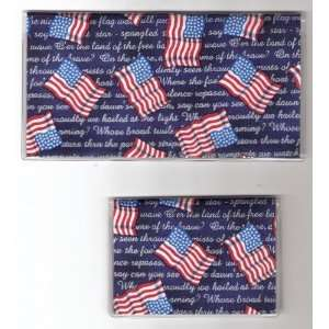Checkbook Cover Debit Set Patriotic USA Flag Words
