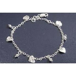 Sterling Silver Mini Heart & Ball Charms Bracelet Jewelry