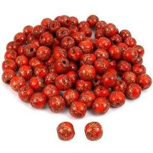 Red Round Art Wood Loose Beads 13mm for Crafts Hemp