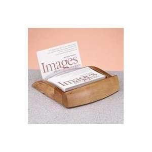 Expressions Wood & Plastic Business Card Holder, Oak