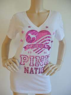 NWT Cute Victoria Secret Pink Nation Bling T Shirt L