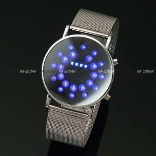 Fashion Blue LED Digital Mirror Day Date Mens Lady Women Sport Wrist